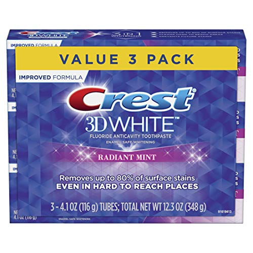 Crest 3D White Toothpaste Radiant Mint, 4.1 oz (Pack of 3) (Packaging May Vary)
